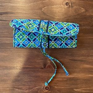 VERA BRADLEY GREEN BLUE TRAVEL ACCESSORY BAG